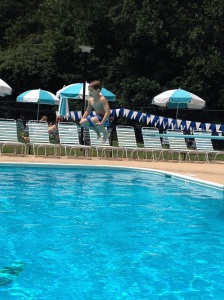 His first time off the diving board