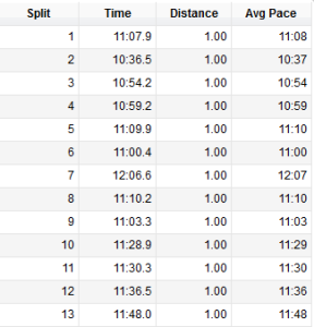 Half Marathon splits - hitting it just right